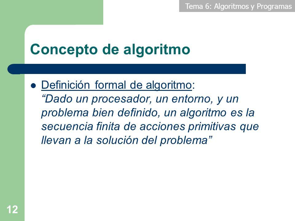 Tema 6: Algoritmos y Programas 12 Concepto de algoritmo Definición formal de algoritmo: Dado un procesador, un entorno, y un problema bien definido, u