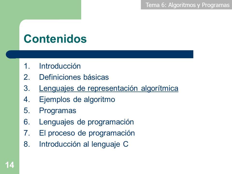 Tema 6: Algoritmos y Programas 14 Contenidos 1.Introducción 2.Definiciones básicas 3.Lenguajes de representación algorítmica 4.Ejemplos de algoritmo 5