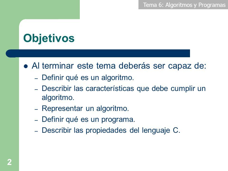 Tema 6: Algoritmos y Programas 3 Contenidos 1.Introducción 2.Concepto de algoritmo 3.Lenguajes de representación algorítmica 4.Ejemplos de algoritmo 5.Programas 6.Lenguajes de programación 7.El proceso de programación 8.Introducción al lenguaje C