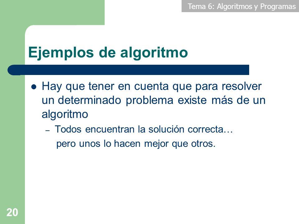 Tema 6: Algoritmos y Programas 20 Hay que tener en cuenta que para resolver un determinado problema existe más de un algoritmo – Todos encuentran la s