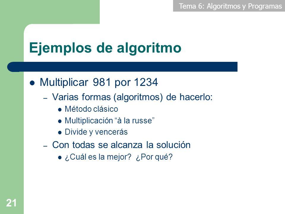 Tema 6: Algoritmos y Programas 21 Ejemplos de algoritmo Multiplicar 981 por 1234 – Varias formas (algoritmos) de hacerlo: Método clásico Multiplicació