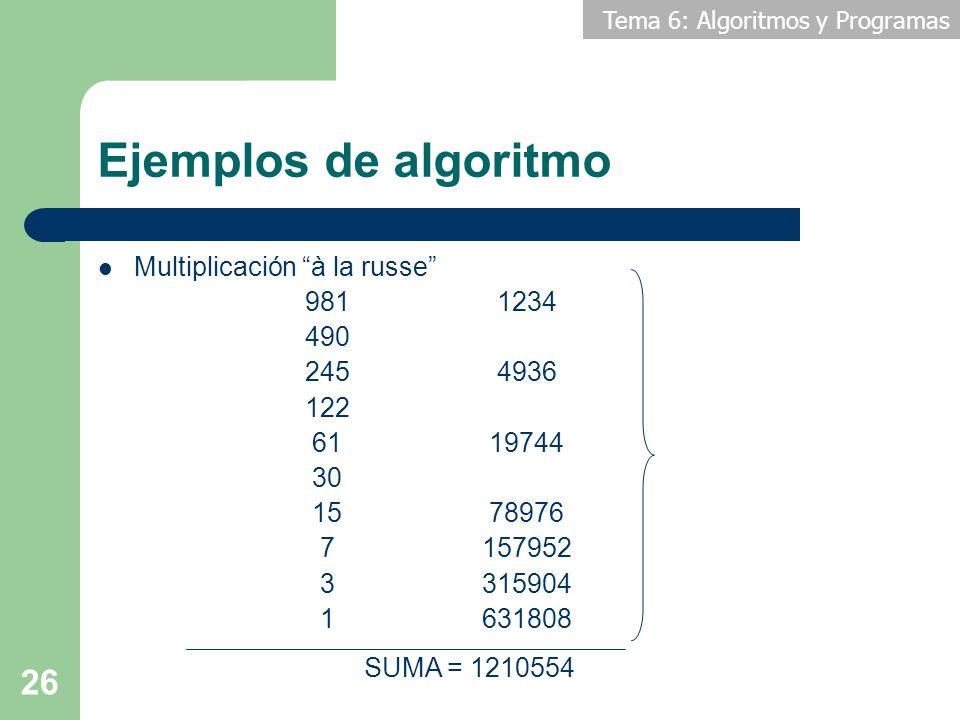 Tema 6: Algoritmos y Programas 26 Ejemplos de algoritmo Multiplicación à la russe 981 1234 490 245 4936 122 61 19744 30 15 78976 7157952 3315904 16318