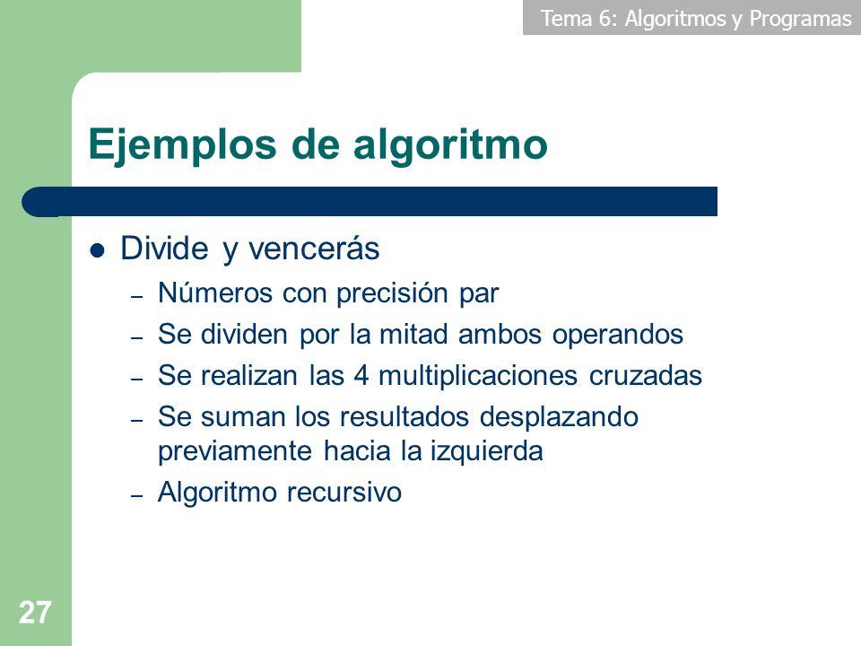 Tema 6: Algoritmos y Programas 27 Ejemplos de algoritmo Divide y vencerás – Números con precisión par – Se dividen por la mitad ambos operandos – Se r