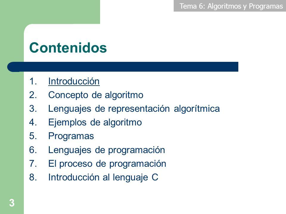Tema 6: Algoritmos y Programas 14 Contenidos 1.Introducción 2.Definiciones básicas 3.Lenguajes de representación algorítmica 4.Ejemplos de algoritmo 5.Programas 6.Lenguajes de programación 7.El proceso de programación 8.Introducción al lenguaje C