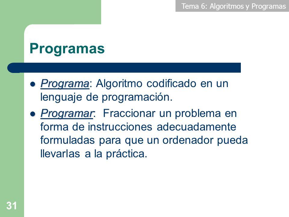 Tema 6: Algoritmos y Programas 31 Programas Programa Programa: Algoritmo codificado en un lenguaje de programación. Programar Programar: Fraccionar un