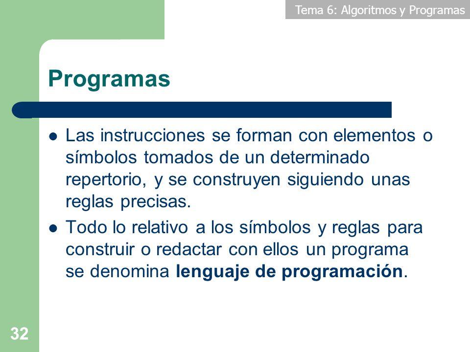 Tema 6: Algoritmos y Programas 32 Programas Las instrucciones se forman con elementos o símbolos tomados de un determinado repertorio, y se construyen