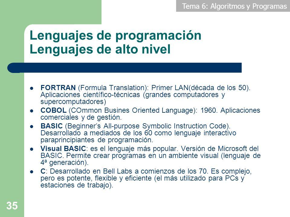 Tema 6: Algoritmos y Programas 35 Lenguajes de programación Lenguajes de alto nivel FORTRAN (Formula Translation): Primer LAN(década de los 50). Aplic
