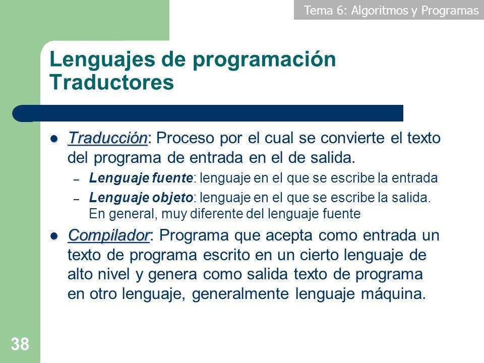 Tema 6: Algoritmos y Programas 38 Lenguajes de programación Traductores Traducción Traducción: Proceso por el cual se convierte el texto del programa