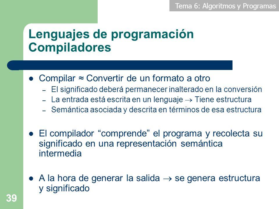 Tema 6: Algoritmos y Programas 39 Lenguajes de programación Compiladores Compilar Convertir de un formato a otro – El significado deberá permanecer in