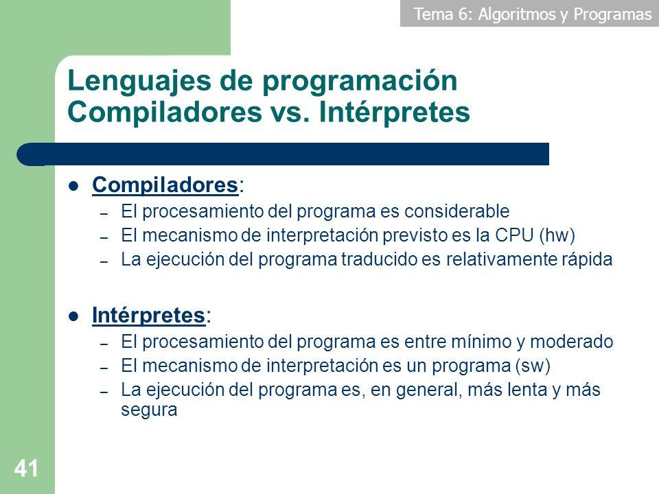 Tema 6: Algoritmos y Programas 41 Lenguajes de programación Compiladores vs. Intérpretes Compiladores: – El procesamiento del programa es considerable
