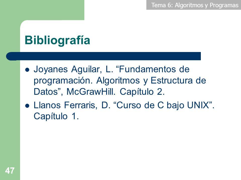 Tema 6: Algoritmos y Programas 47 Bibliografía Joyanes Aguilar, L. Fundamentos de programación. Algoritmos y Estructura de Datos, McGrawHill. Capítulo