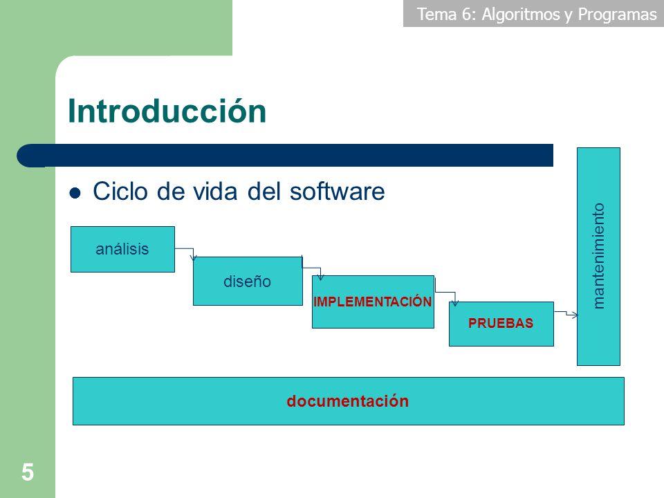 Tema 6: Algoritmos y Programas Introducción Ciclo de vida del software 5 análisis diseño IMPLEMENTACIÓN PRUEBAS mantenimiento documentación