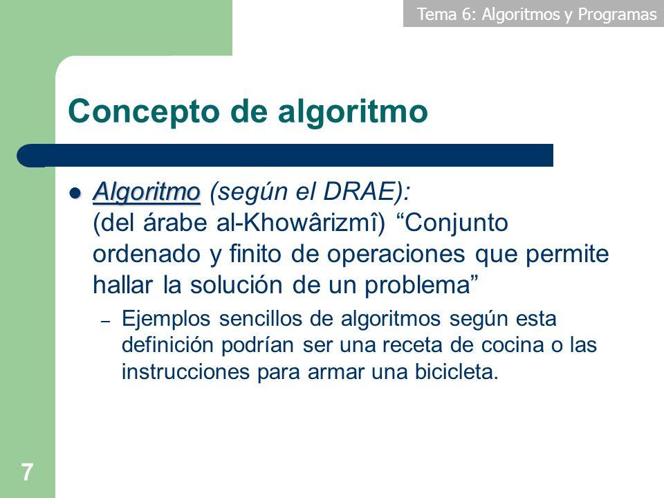 Tema 6: Algoritmos y Programas 8 Concepto de algoritmo Breve reseña histórica: Breve reseña histórica: – Los primeros algoritmos registrados datan de Babilonia, originados en las matemáticas como un método para resolver un problema usando una secuencia de cálculos más simples.