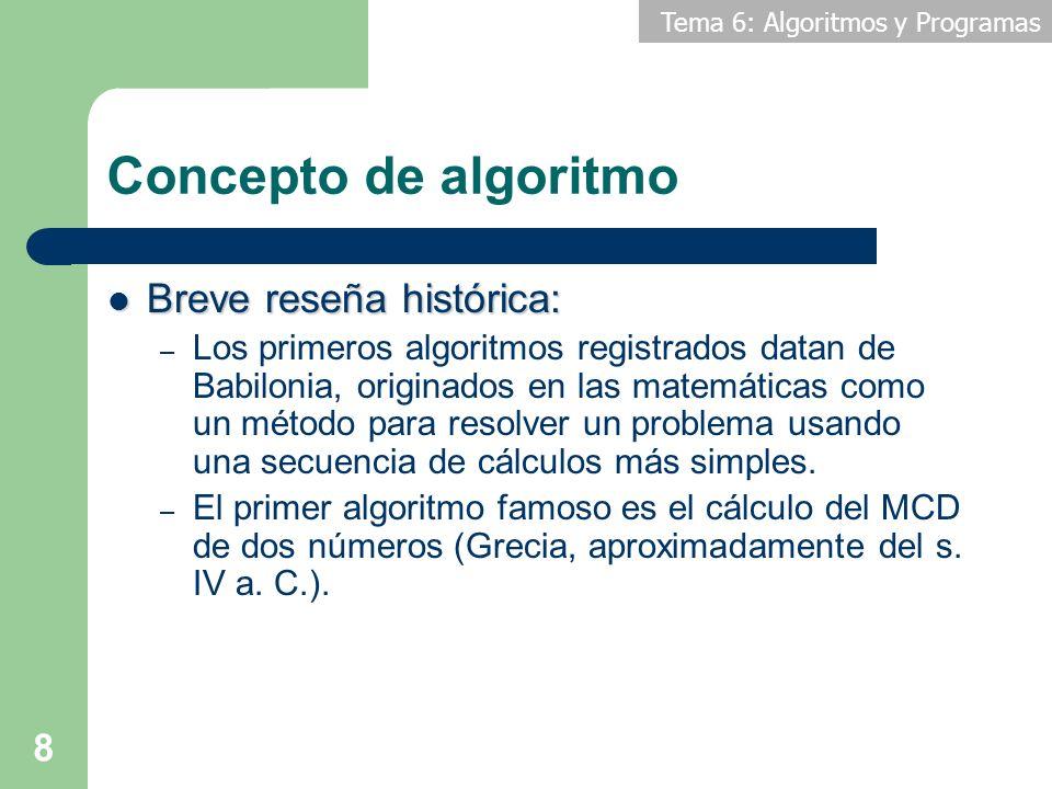 Tema 6: Algoritmos y Programas 9 Concepto de algoritmo En Informática: – Un algoritmo es una secuencia de pasos a seguir para resolver un problema usando un computador u ordenador.