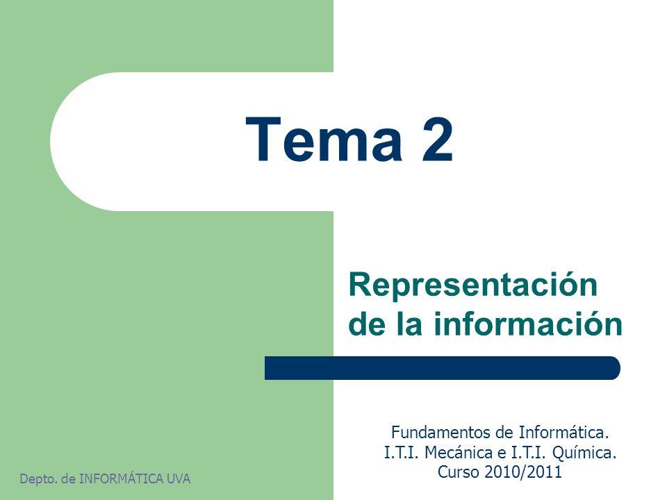 Tema 2 Representación de la información Fundamentos de Informática. I.T.I. Mecánica e I.T.I. Química. Curso 2010/2011 Depto. de INFORMÁTICA UVA