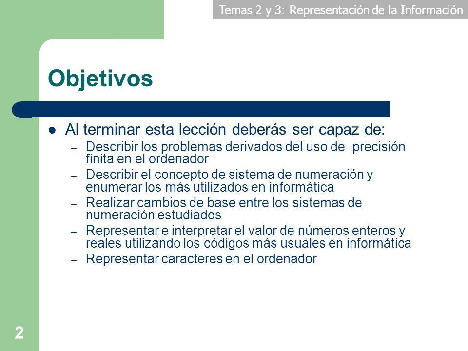 Temas 2 y 3: Representación de la Información 2 Objetivos Al terminar esta lección deberás ser capaz de: – Describir los problemas derivados del uso d