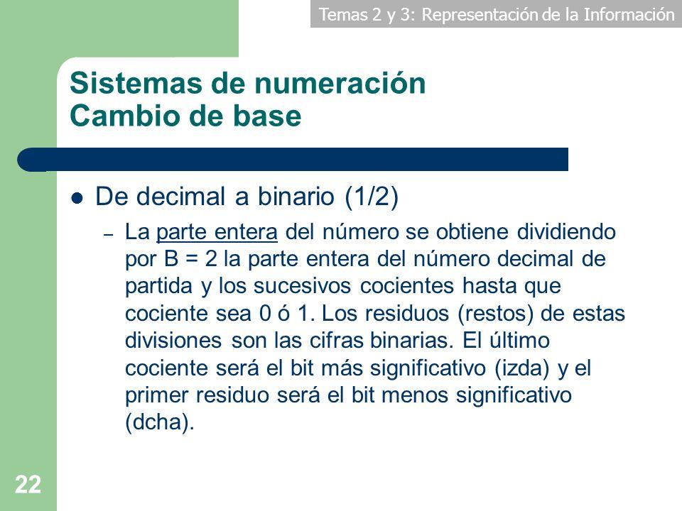 Temas 2 y 3: Representación de la Información 22 Sistemas de numeración Cambio de base De decimal a binario (1/2) – La parte entera del número se obti