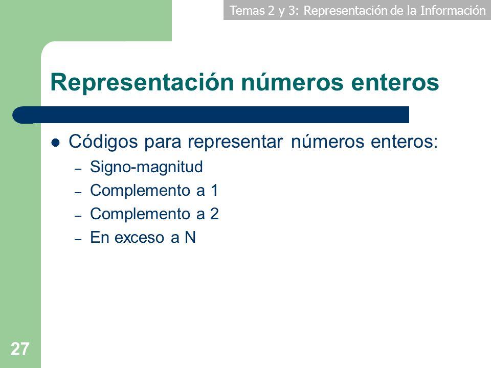 Temas 2 y 3: Representación de la Información 27 Representación números enteros Códigos para representar números enteros: – Signo-magnitud – Complemen