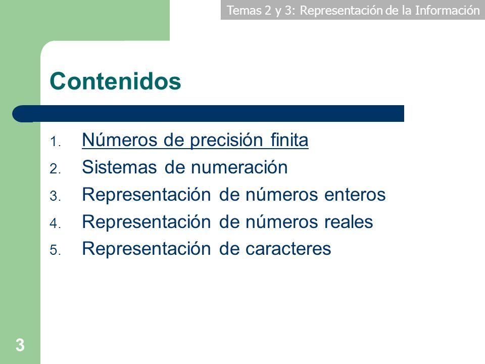 Temas 2 y 3: Representación de la Información 3 Contenidos 1. Números de precisión finita 2. Sistemas de numeración 3. Representación de números enter