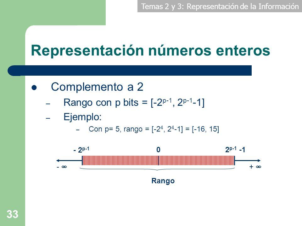 Temas 2 y 3: Representación de la Información 33 Representación números enteros Complemento a 2 – Rango con p bits = [-2 p-1, 2 p-1 -1] – Ejemplo: – C