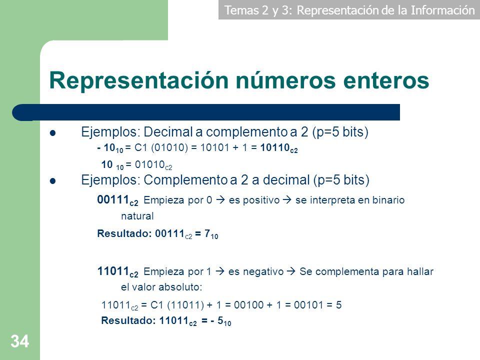 Temas 2 y 3: Representación de la Información 34 Representación números enteros Ejemplos: Decimal a complemento a 2 (p=5 bits) - 10 10 = C1 (01010) =