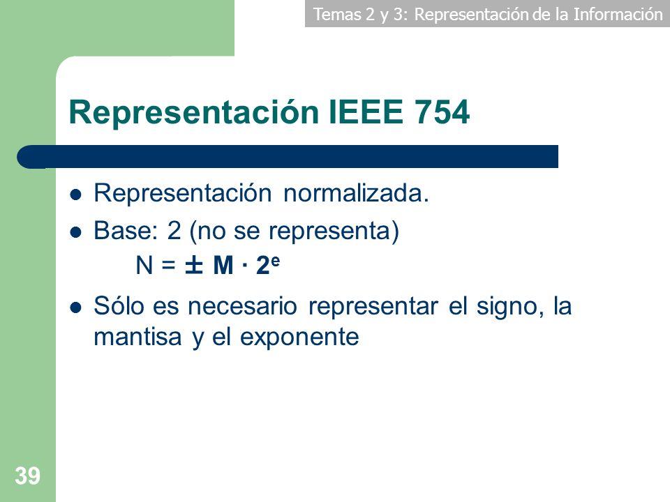 Temas 2 y 3: Representación de la Información 39 Representación IEEE 754 Representación normalizada. Base: 2 (no se representa) N = ± M · 2 e Sólo es