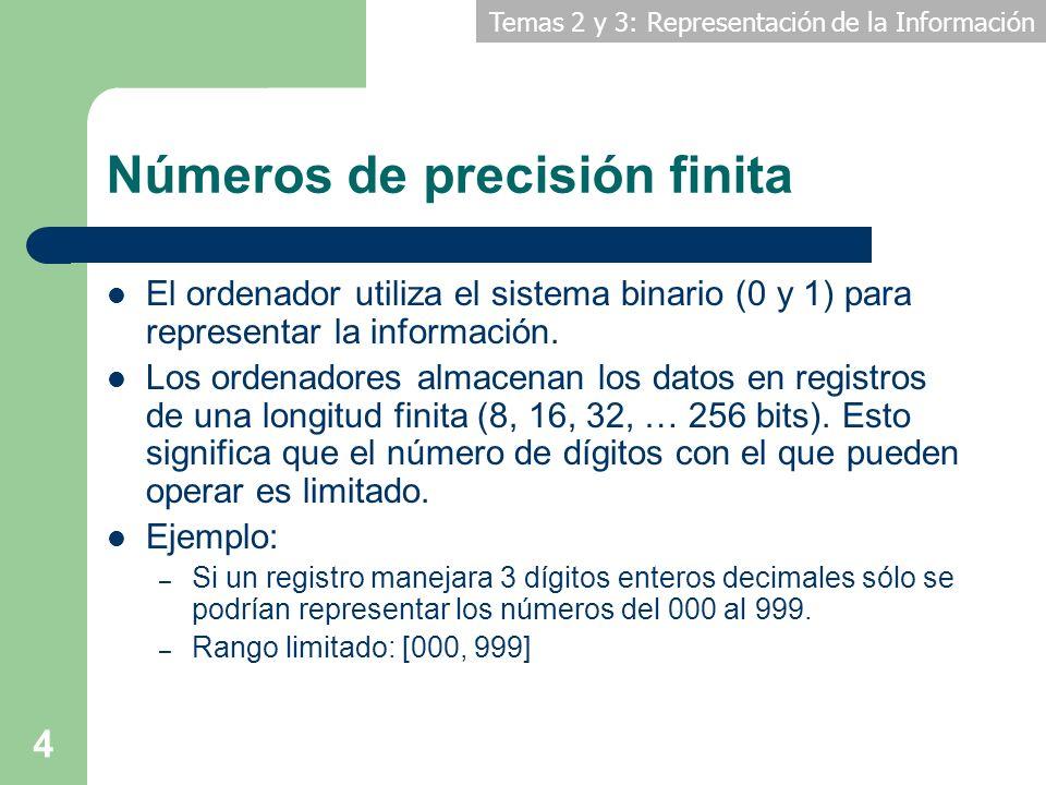 Temas 2 y 3: Representación de la Información 4 Números de precisión finita El ordenador utiliza el sistema binario (0 y 1) para representar la inform