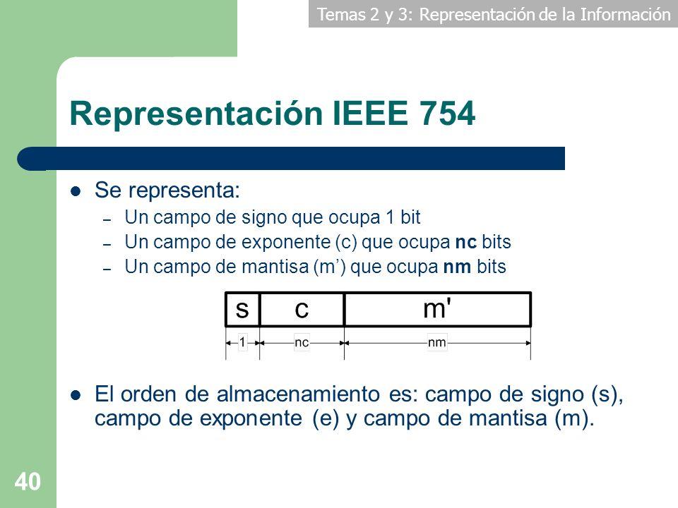 Temas 2 y 3: Representación de la Información 40 Representación IEEE 754 Se representa: – Un campo de signo que ocupa 1 bit – Un campo de exponente (c