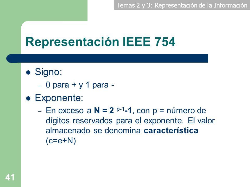 Temas 2 y 3: Representación de la Información 41 Representación IEEE 754 Signo: – 0 para + y 1 para - Exponente: – En exceso a N = 2 p-1 -1, con p = n