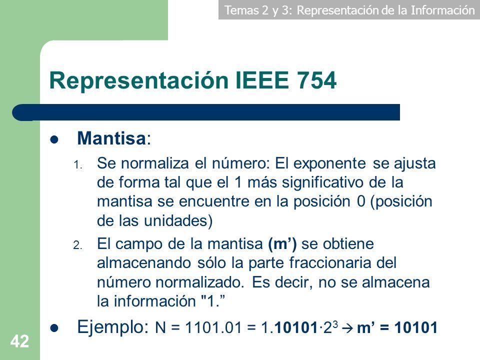 Temas 2 y 3: Representación de la Información 42 Representación IEEE 754 Mantisa: 1. Se normaliza el número: El exponente se ajusta de forma tal que e
