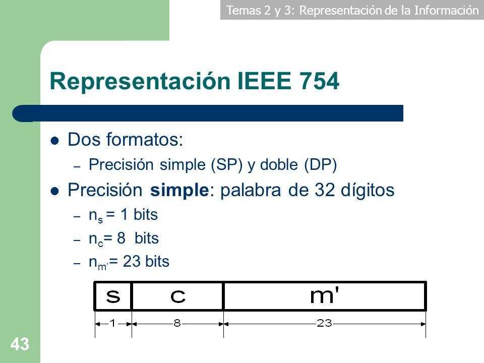 Temas 2 y 3: Representación de la Información 43 Representación IEEE 754 Dos formatos: – Precisión simple (SP) y doble (DP) Precisión simple: palabra