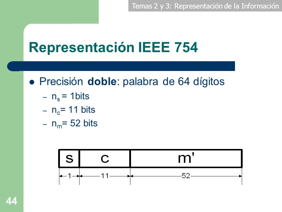 Temas 2 y 3: Representación de la Información 44 Representación IEEE 754 Precisión doble: palabra de 64 dígitos – n s = 1bits – n c = 11 bits – n m =