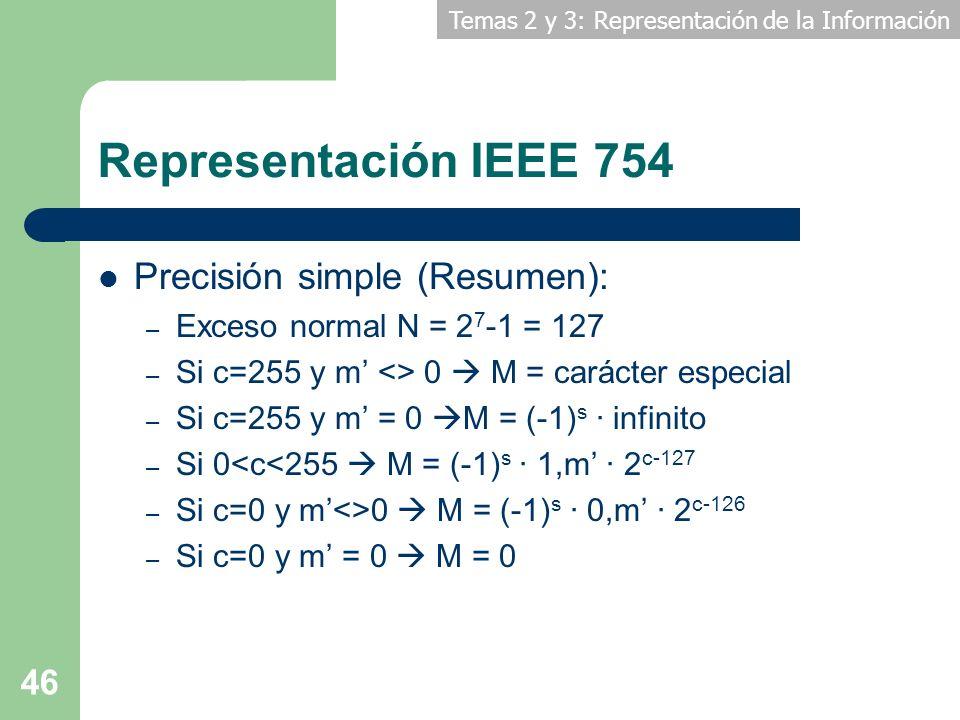 Temas 2 y 3: Representación de la Información 46 Representación IEEE 754 Precisión simple (Resumen): – Exceso normal N = 2 7 -1 = 127 – Si c=255 y m <