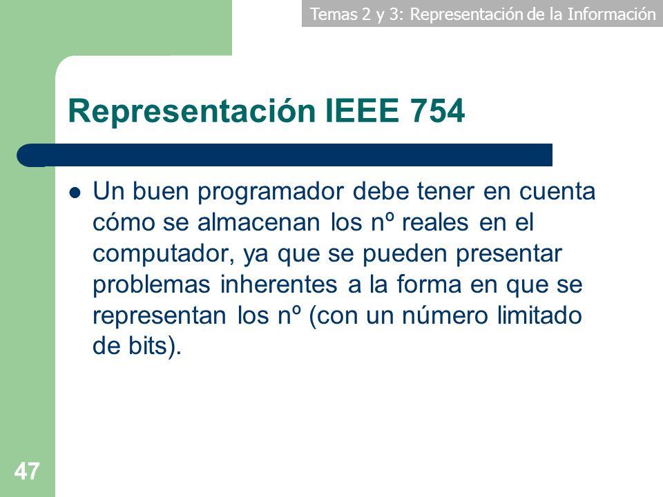 Temas 2 y 3: Representación de la Información 47 Representación IEEE 754 Un buen programador debe tener en cuenta cómo se almacenan los nº reales en e