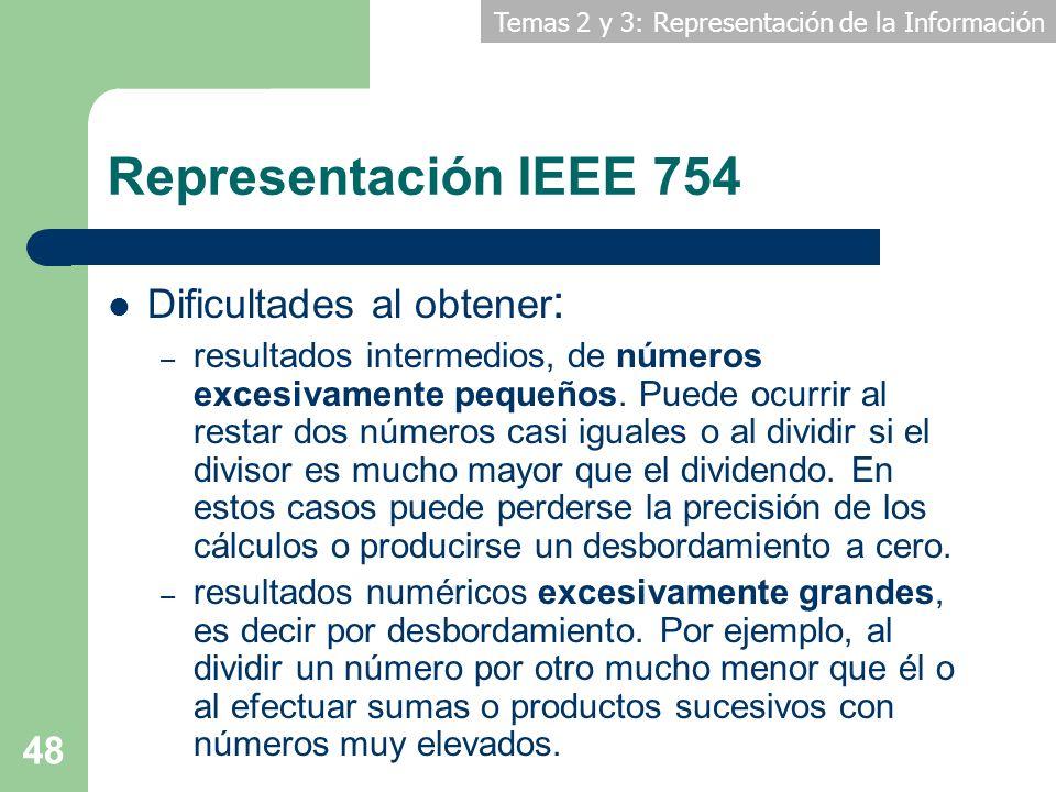 Temas 2 y 3: Representación de la Información 48 Representación IEEE 754 Dificultades al obtener : – resultados intermedios, de números excesivamente