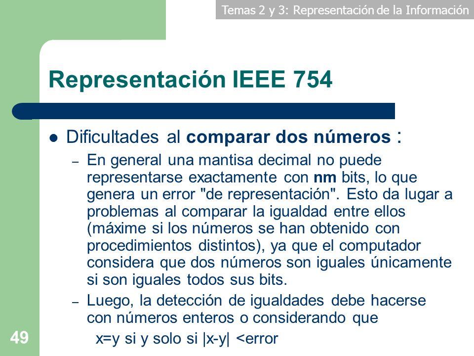 Temas 2 y 3: Representación de la Información 49 Representación IEEE 754 Dificultades al comparar dos números : – En general una mantisa decimal no pu