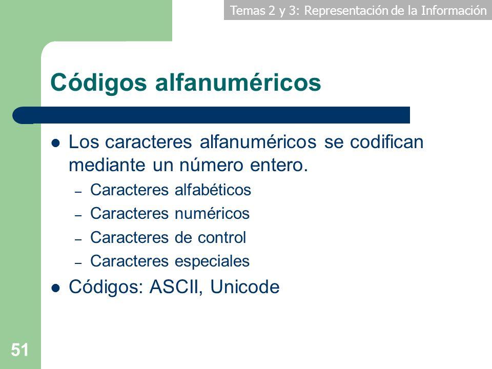 Temas 2 y 3: Representación de la Información 51 Códigos alfanuméricos Los caracteres alfanuméricos se codifican mediante un número entero. – Caracter