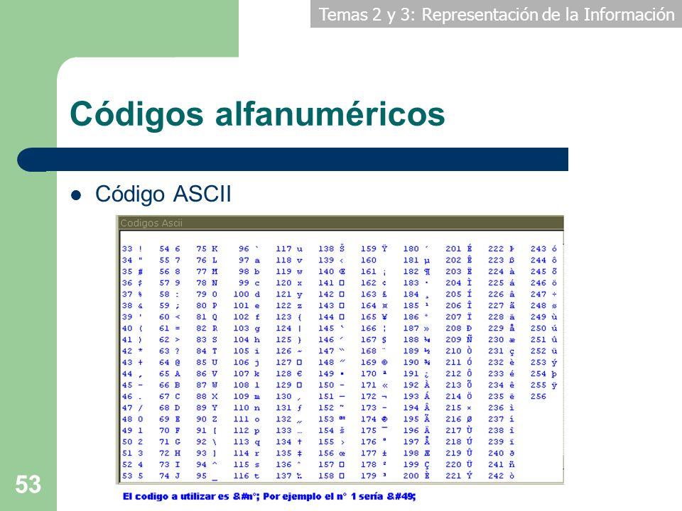 Temas 2 y 3: Representación de la Información 53 Códigos alfanuméricos Código ASCII