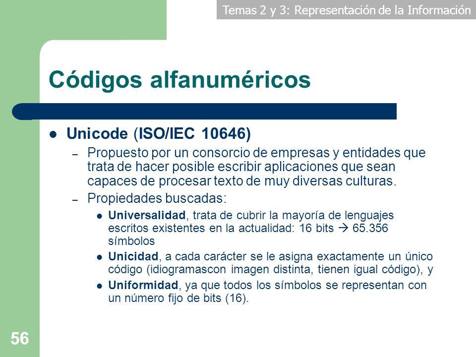 Temas 2 y 3: Representación de la Información 56 Códigos alfanuméricos Unicode (ISO/IEC 10646) – Propuesto por un consorcio de empresas y entidades qu
