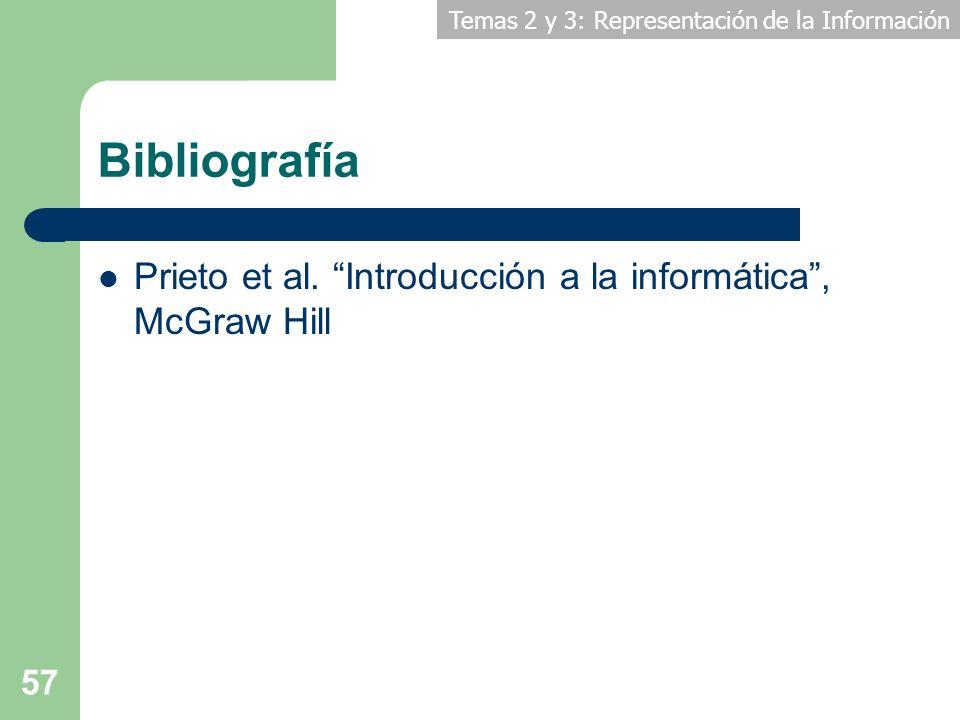 Temas 2 y 3: Representación de la Información 57 Bibliografía Prieto et al. Introducción a la informática, McGraw Hill