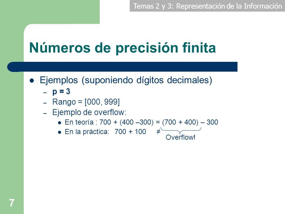 Temas 2 y 3: Representación de la Información 7 Números de precisión finita Ejemplos (suponiendo dígitos decimales) – p = 3 – Rango = [000, 999] – Eje