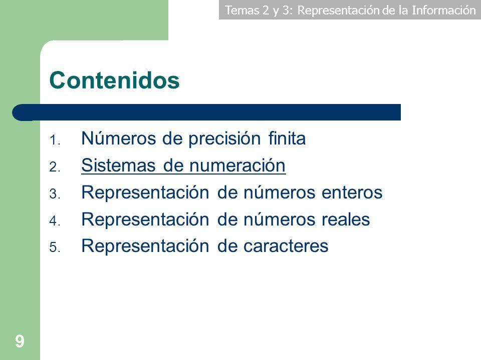 Temas 2 y 3: Representación de la Información 9 Contenidos 1. Números de precisión finita 2. Sistemas de numeración 3. Representación de números enter