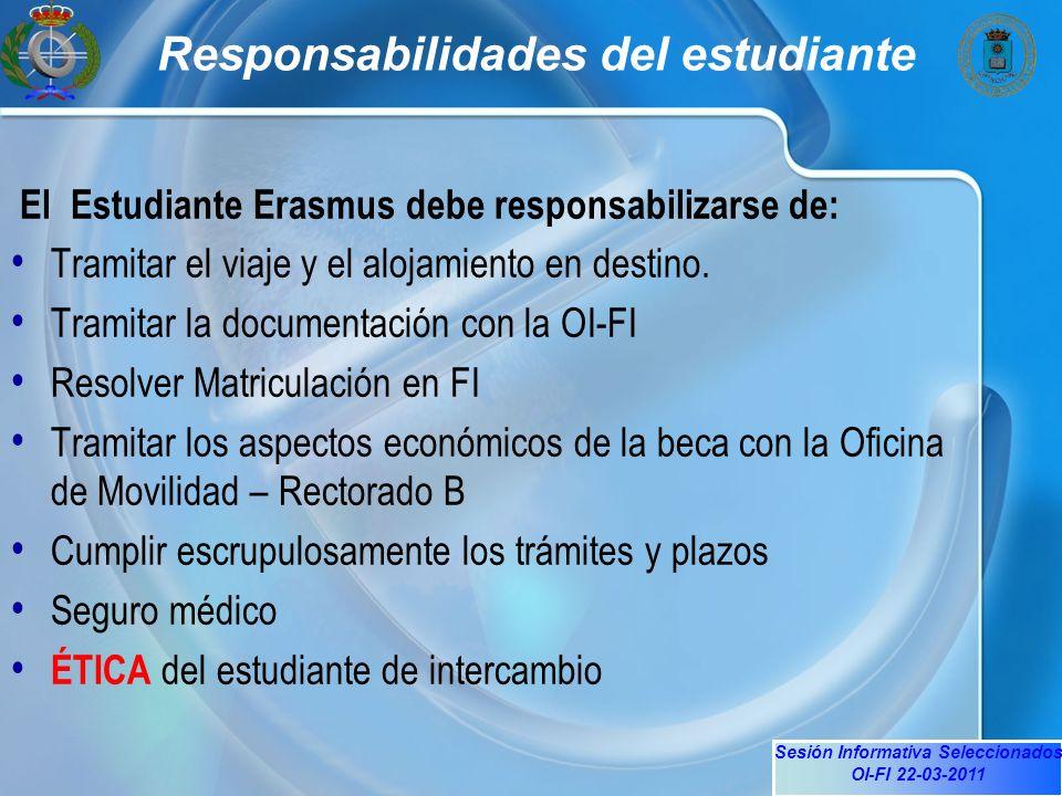 Sesión Informativa Seleccionados OI-FI 22-03-2011 Responsabilidades del estudiante El Estudiante Erasmus debe responsabilizarse de: Tramitar el viaje y el alojamiento en destino.
