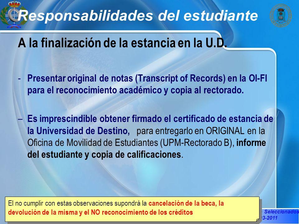 Sesión Informativa Seleccionados OI-FI 22-03-2011 Responsabilidades del estudiante A la finalización de la estancia en la U.D.