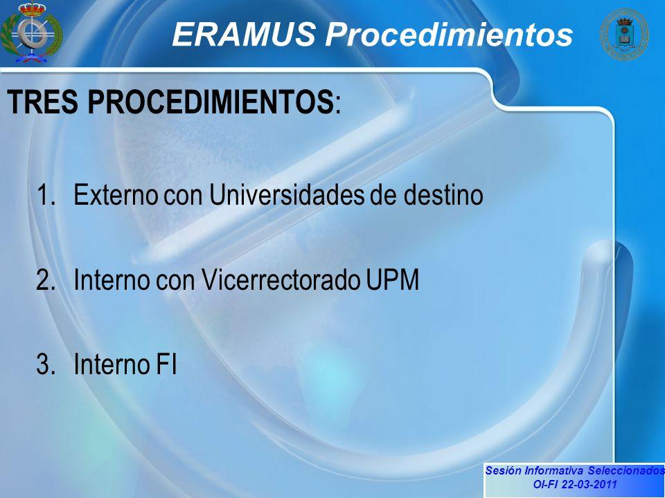 Sesión Informativa Seleccionados OI-FI 22-03-2011 ERAMUS Procedimientos TRES PROCEDIMIENTOS : 1.Externo con Universidades de destino 2.Interno con Vicerrectorado UPM 3.Interno FI