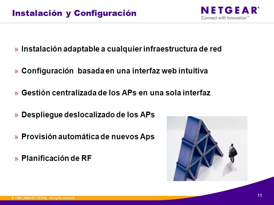 11. © 1996-2006 NETGEAR ®. All rights reserved Instalación y Configuración »Instalación adaptable a cualquier infraestructura de red »Configuración ba