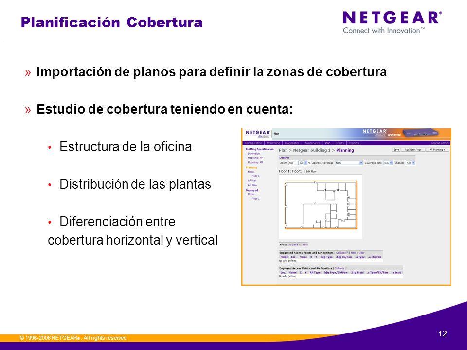 12. © 1996-2006 NETGEAR ®. All rights reserved Planificación Cobertura »Importación de planos para definir la zonas de cobertura »Estudio de cobertura