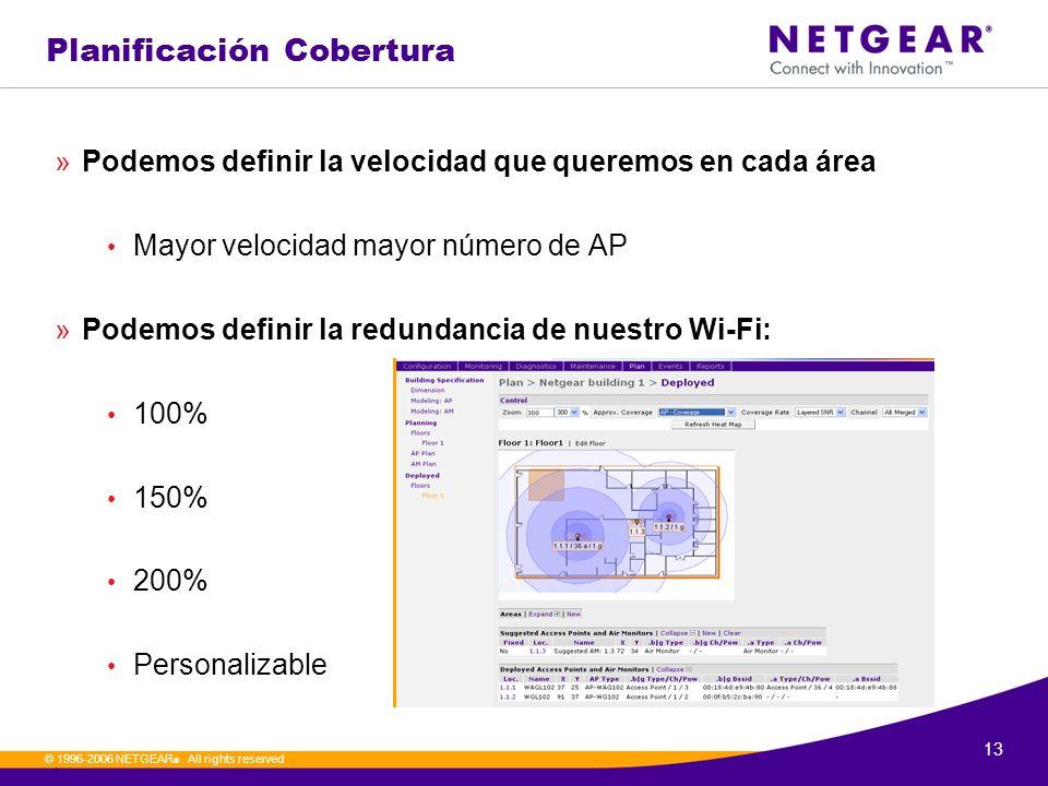 13. © 1996-2006 NETGEAR ®. All rights reserved Planificación Cobertura »Podemos definir la velocidad que queremos en cada área Mayor velocidad mayor n