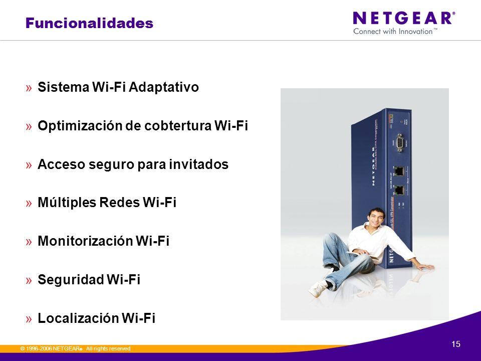 15. © 1996-2006 NETGEAR ®. All rights reserved Funcionalidades »Sistema Wi-Fi Adaptativo »Optimización de cobtertura Wi-Fi »Acceso seguro para invitad