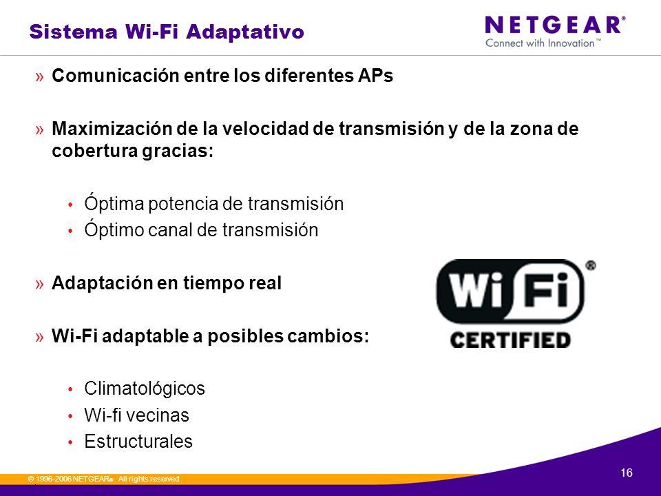 16. © 1996-2006 NETGEAR ®. All rights reserved Sistema Wi-Fi Adaptativo »Comunicación entre los diferentes APs »Maximización de la velocidad de transm